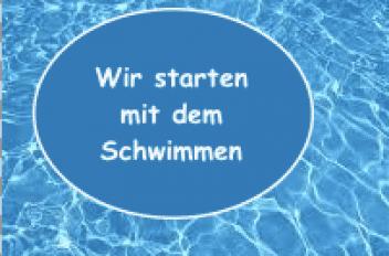 Blau-Weiss hand startet mit dem Schwimmen, nach Lockdown