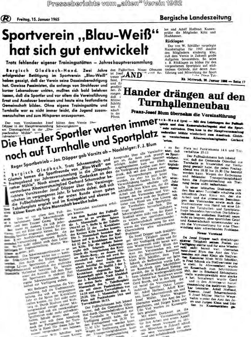 Presse Wechsel Vorstand 1965